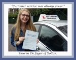 Lauren De Jager of Bolton. passed with Keys to Freedom Driving School Bolton