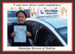 Manilyn Brown of Bolton. passed with Keys to Freedom Driving School Bolton