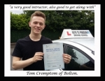 Tom Crompton of Bolton. passed with Keys to Freedom Driving School Bolton