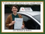 Zoe Keenan of Bolton. passed with Keys to Freedom Driving School Bolton