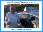 Anna Hibbert of Bolton. passed with Keys to Freedom Driving School Bolton