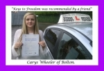 Carys Wheeler of Bolton. passed with Keys to Freedom Driving School Bolton