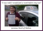 Gemma Rock of Bolton. passed with Keys to Freedom Driving School Bolton