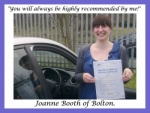 Joanne Booth of Bolton. passed with Keys to Freedom Driving School Bolton