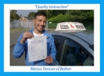 Mario Stoican of Bolton. passed with Keys to Freedom Driving School Bolton