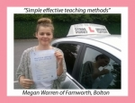 Megan Warren of Bolton. passed with Keys to Freedom Driving School Bolton