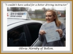 Olivia Hornby of Bolton. passed with Keys to Freedom Driving School Bolton
