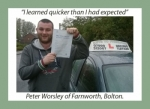 Peter Worsley of Bolton. passed with Keys to Freedom Driving School Bolton