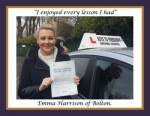 Emma Harrison of Bolton. passed with Keys to Freedom Driving School Bolton