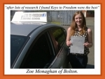 Zoe Monaghan of Bolton. passed with Keys to Freedom Driving School Bolton