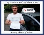 Antony Heaton of Bolton. passed with Keys to Freedom Driving School Bolton