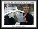 Chloe Massey, Bolton. passed with Keys to Freedom Driving School Bolton