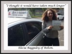 Elecia Bagguley of Bolton. passed with Keys to Freedom Driving School Bolton