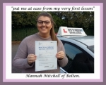 Hannah Mitchell of Bolton. passed with Keys to Freedom Driving School Bolton