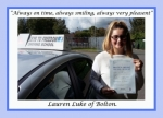 Lauren Luke of Bolton. passed with Keys to Freedom Driving School Bolton