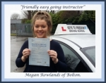 Megan Rowlands, Bolton passed with Keys to Freedom Driving School Bolton