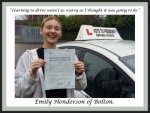 Emily Henderson of Bolton. passed with Keys to Freedom Driving School Bolton