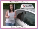 Emma Finney of Bolton. passed with Keys to Freedom Driving School Bolton