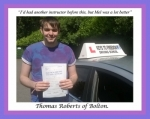 Thomas Roberts of Bolton. passed with Keys to Freedom Driving School Bolton
