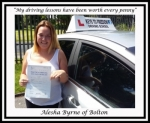 Alesha Byrne of Bolton. passed with Keys to Freedom Driving School Bolton