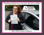 Alix Isherwood of Bolton. passed with Keys to Freedom Driving School Bolton