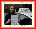 Megan Valentine of Bolton. passed with Keys to Freedom Driving School Bolton
