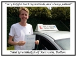 Paul Greenhalgh of Bolton. passed with Keys to Freedom Driving School Bolton