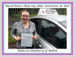 Rebecca Dunleavy of Bolton. passed with Keys to Freedom Driving School Bolton