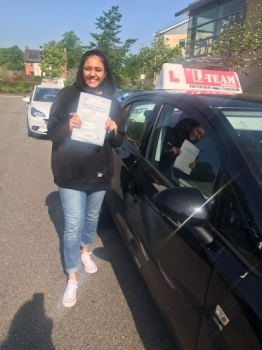 Congratulations to Shareen passing her driving test with 