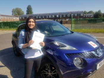 Congratulations to Nafeesa passing her driving test with 
