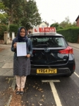 NAZIA passed with L Team Driving School