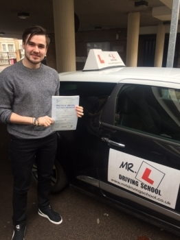 Congratulations to Billy Pridgeon from Bar Hill who passed 1st time in Cambridge on the 10-3-16 after taking driving lessons with MR.L Driving School....