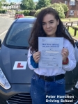 Holly Irwin From Bridgend passed with Peter Hamilton Driving School