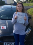 Katie Alford passed with Peter Hamilton Driving School