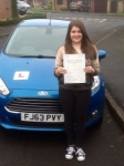 Sian Evans passed with Peter Hamilton Driving School