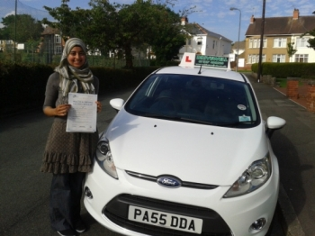 Shereen Ahmed proudly holding her pass certificate after passing first time today with a safe and confident drive with few driver faults.  A great result well deserved from combining driving, work and studying.  Well done for following your sister's lead passing first time.  Congratulations again. Good luck with your driving.  Keep Safe.  Salvina a...