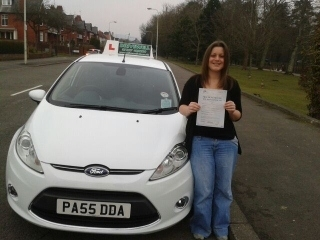 Dr. Helen Bradshaw proudly holding her Pass Certificate after passing first time today.  A great achievement especially as due to work commitments most lessons have been in the dark.  Often the best drivers learn in the dark. 12th February 2013....