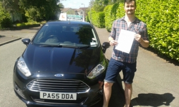 Eoin Cremin delighted to be holding his Pass Certificate after passing his test first time today.  A brilliant, safe and confident drive demonstrating excellent car control.  As a result it was a faultless drive.  The examiner congratulated Eoin and Salvina on  such high standards achieving a