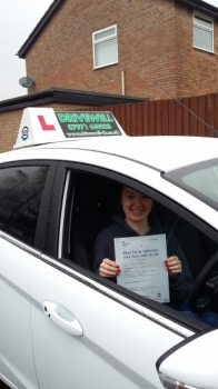 Lucy Cuddihee absolutely delighted to be clenching her Pass Certificate after Pass her Driving Test today.  The examiner said to Lucy that it was a