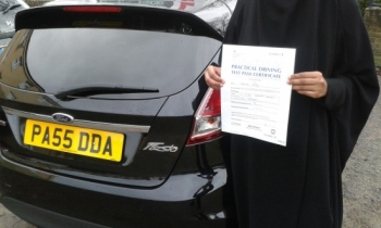 Marym Ahmed was thrilled to have passed her Driving Test today with  a few faults.  She was rather camera shy, but is pictured here holding her Pass Certificate standing next to Salvina´s car - Sooty. Marym worked hard, took her lessons seriously and produced a safe and confident drive.