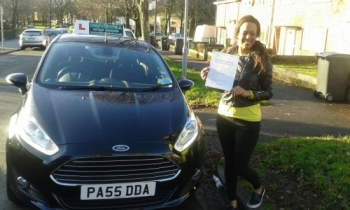 Rebecca Jones proudly holding her  Pass Certificate after passing her test first time today.  A super result after struggling to fit lessons in. The drive was an excellent safe and confident drive with only 2 driver faults.  Congratulations and well done again.  Salvina 19th December 2015....