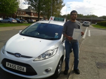 Saeed Jaber proudly holding his Pass Certificate after passing his test today with 4 driver faults.  A great result as a result of working hard during a busy time table.  Congratulations and well done again.  Good luck and enjoy safe driving. 16th May 2013....