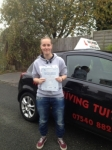 Linzi M passed with Wilkes Driving Tuition
