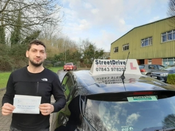 """Congratulations """"Ervis Koloshi"""" who passed his driving test today """"1st"""" attempt, at Chippenham DTC.Your instructor """"Roger"""" and ALL of us at StreetDrive (SoM) are delighted for you, very well done - Passed Monday 10th February 2020."""