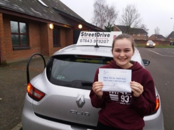 "Congratulations to �India Westoff' who passed the new ""SatNav� driving test today at Trowbridge DTC, it was her ""1st Attempt�, only ""ONE� driving faults, fantastic news.<br />