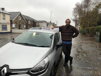 "Congratulations to 'John Shelper' who passed his driving test this afternoon at Poole DTC, just ""THREE"" driving faults, a superb drive considering the wind and heavy rain, we are ALL delighted for you.<br />