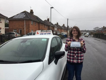 "We are delighted for �Kerrie Knights' who passed the new ""SatNav� driving test today at Poole DTC, fantastic news.<br />