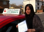 MISS CHENYE, FROM LONDON, E14  passed with Time To Pass Driving School