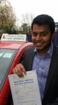 Mr. Velutha Parambath. From London, E14 passed with Time To Pass Driving School