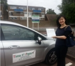 Xiaoyue ZHANG passed with Time To Pass Driving School